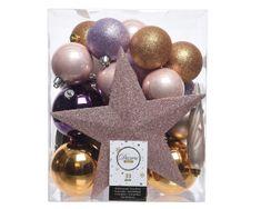 Kaemingk Set 33 ks vánočních ozdob včetně špičky, plast, barvy pudrové