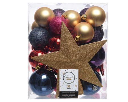 Kaemingk Set 33 ks vánočních ozdob včetně špičky, plast, zlaté