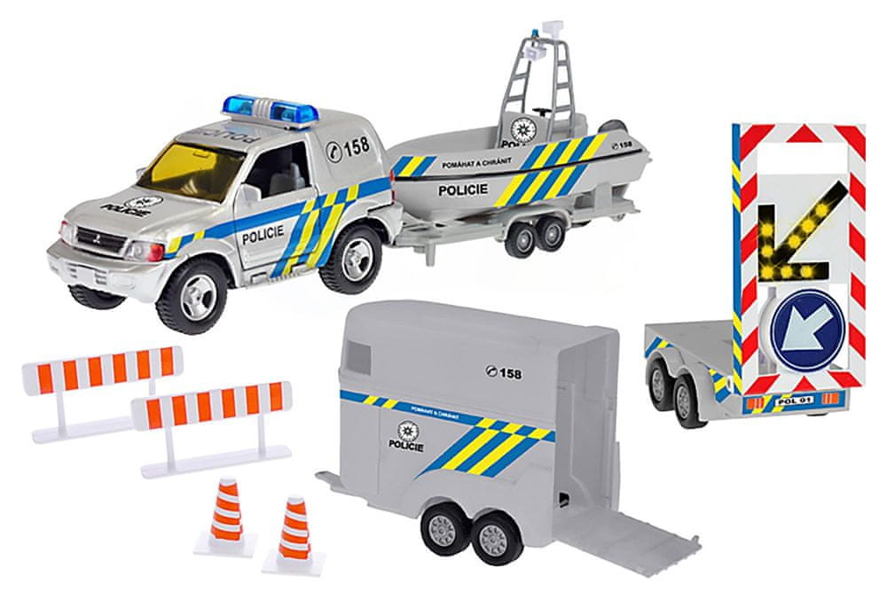 Mikro hračky Policejní auto 13cm s přívěsem+2 vozíky