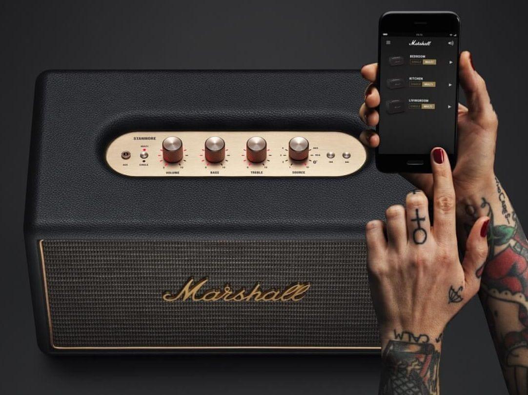 wifi reproduktor bluetooth Marshall Stanmore Multi-Room větší bezdrátový dosah apple airplay chromecast bluetooth optický kabel rca vstup