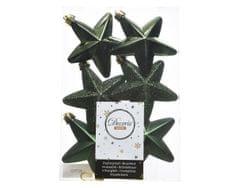 """Kaemingk Sada 6ks vianočných ozdôb """"Hviezda"""", 7,5 cm, tm. zelená, plast"""
