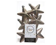 """Kaemingk Sada 6ks vianočných ozdôb """"Hviezda"""", 7,5 cm, kašmírovo hnedá, plast"""