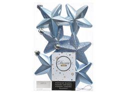 """Kaemingk Sada 6ks vianočných ozdôb """"Hviezda"""", 7,5cm, sv. modrá, plast"""