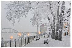 Kaemingk LED világítós kép Hó borított város