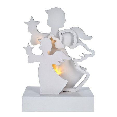 """Solight dekoracja świąteczna """"Aniołki"""" LED, drewno, biała, 2 x AA"""