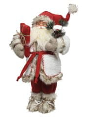 Kaemingk Vánoční dekorace Santa s dárkem 22x17x45