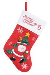 """Kaemingk Vánoční punčocha """"Santa se stromečkem"""" - červená"""