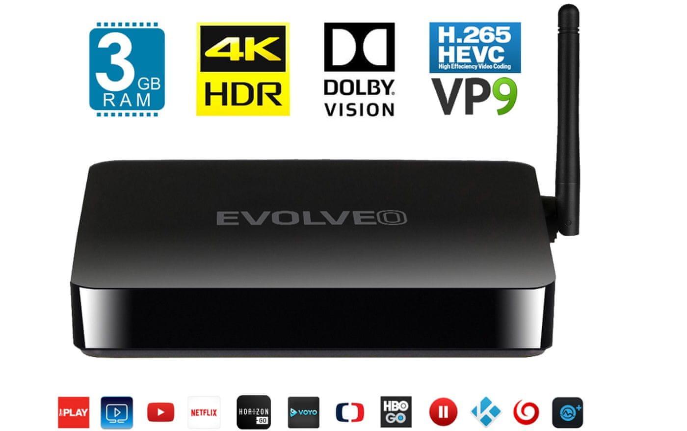 multimediální centrum Evolveo MultimediaBox M8 hdr hlg dolby vision 4k ultra hd osmijádrový procesor