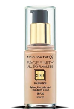Max Factor tekoči puder Facefinity 3 in 1 All Day Flawless, 55 Beige, 30 ml