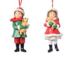 Kaemingk Set 2ks vánočních ozdob - Děti s pejsky