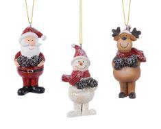 Kaemingk Set 3ks vánočních ozdob - Santa, Sob a Sněhulák