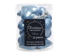 Kaemingk Set 12ks vánočních ozdob MINI SRDÍČKA, světle modrá