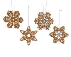 Kaemingk Set 4ks vánočních ozdob - Perníčky ve tvaru vločky