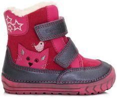 D-D-step dievčenské zimné topánky s mačičkou