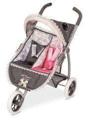DeCuevas Reborn 2018 Skládací kočárek tříkolový pro dvojčata panenky