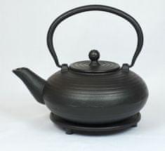 ja-unendlich čajnik iz litega železa Kurage, 0,9 l črn