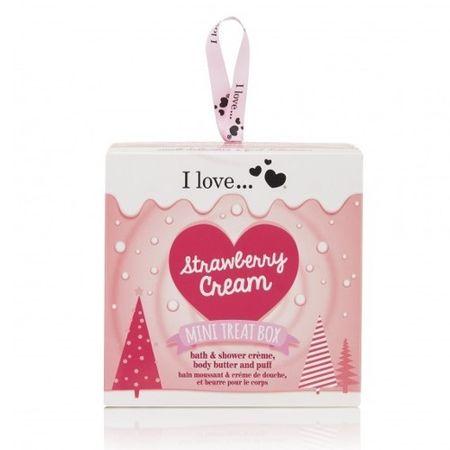 I Love Cosmetics Ajándék szett Eper Eperkrém Mini Kezelhető doboz