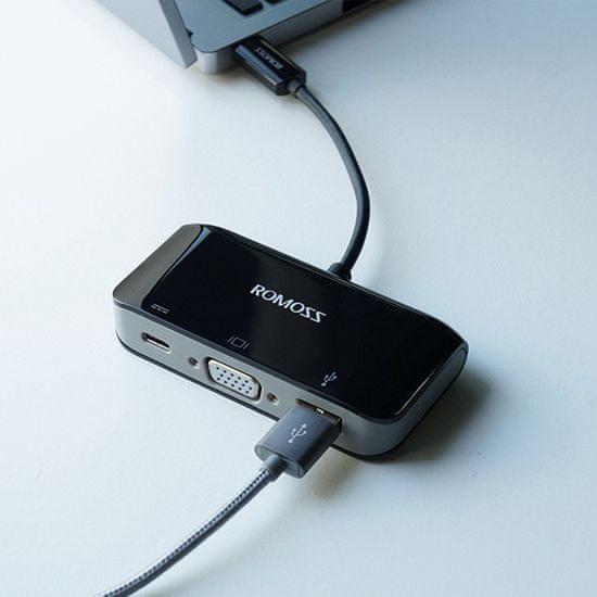 Romoss USB 3.1 Multiport Adapter USB-C VGA és USB-A 3.0/F Multiport adapter töltéssel 6951758344325
