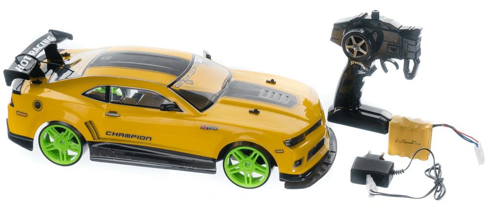 Teddies Auto RC drift žluté plast 40cm 27MHz na baterie + dobíjecí pack