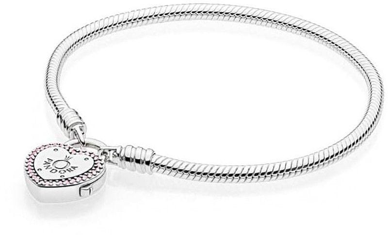 b7203c6d6 Pandora Stříbrný náramek se zámečkem ve tvaru srdce 596586fpc (Délka 20 cm)  stříbro 925