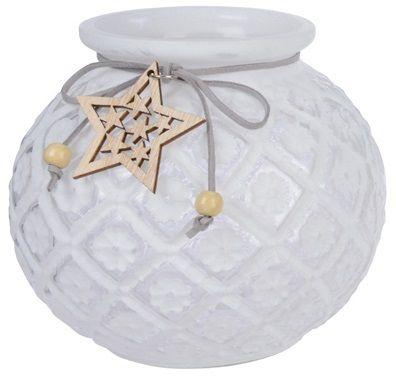 Kaemingk Świecznik na podgrzewacz z gwiazdką, biały