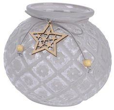 Kaemingk Svícen na čajovou svíčku s hvězdou šedý