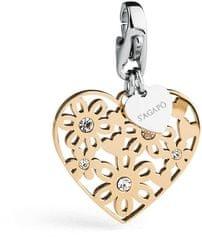 S'Agapõ Happy romantikus aranyozott szív medál SHA155