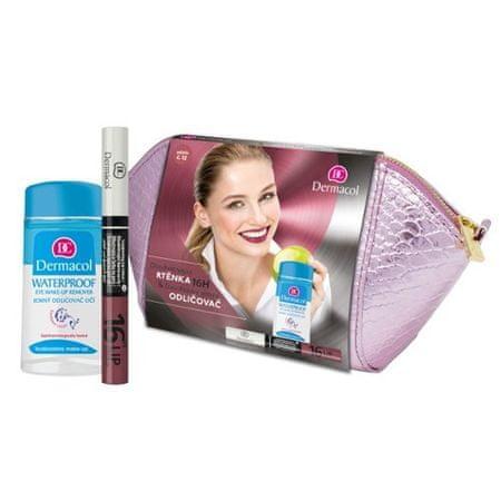 Dermacol Dárková sada Dlouhotrvající barva na rty 16h Lip Colour + Jemný odličovač očí 120 ml