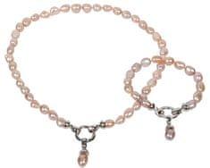 JwL Luxury Pearls Rózsaszín igazgyöngy nyaklánc és karkötő szett JL0130