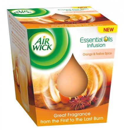 Air wick dišeča sveča Essential Oils Infusion, pomaranča in praznične začimbe