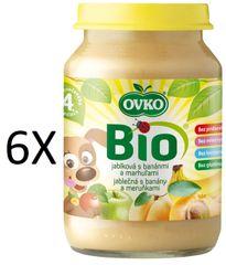 OVKO 6x BIO jablko+banány+meruňka PT - 190g