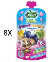 OVKO 8x Jablko+švestka+banán PO - 120g