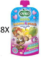 OVKO 8x Jablko+banán+broskev PO - 120g