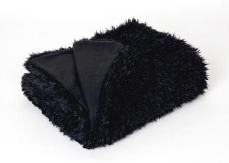 Mistral Home Koc z kożuchem włochaty Czarny 150x200 cm