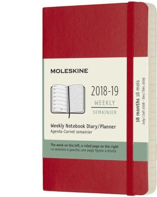 Moleskine tedenski planer 2018/2019 ,18M, žepni, mehke platnice, rdeč