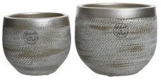 Kaemingk Set 2ks květináčů, metalické, 16x14cm, 13x11cm, keramika, ručně vyrobené