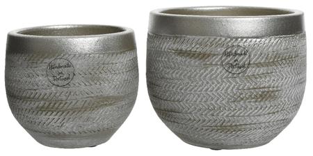 Kaemingk Set 2ks kvetináčov, metalické, 16x14cm, 13x11cm, keramika, ručne vyrobené