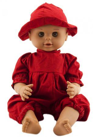 Teddies dojenček, 50 cm, z rdečo obleko in klobučkom