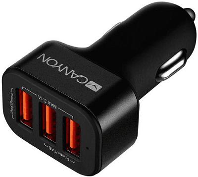 Canyon Mini 3 USB car adapter, Input 12V-24V, Output 5V-3.1A, černá CNE-CCA06B
