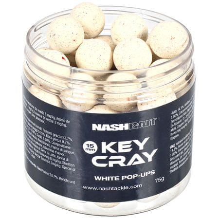 Nash Plávajúce Boilies Key Cray Pop Ups White 75 g, 18 mm