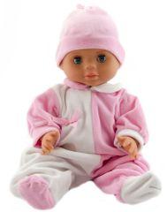 Teddies lalka dziecko 40 cm, twarde ciało, biało różowe śpioszki + różowa czapka