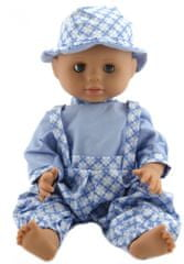 Teddies dojenček, 40 cm, trdo telo, z svetlo modrimi hlačami, majico in klobučkom