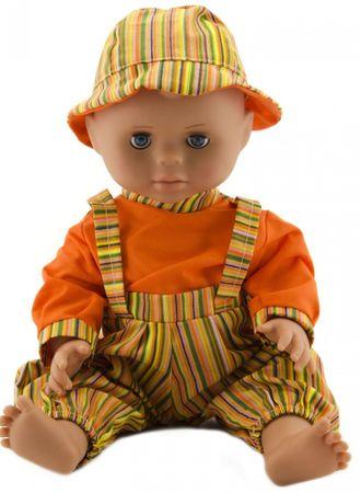 Teddies Miminko 40 cm, pevné tělo oranžový proužek + oranžová košile + klobouk