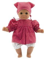 Teddies lutka, 30 cm, z rdečo obleko s belimi pikami in šalom