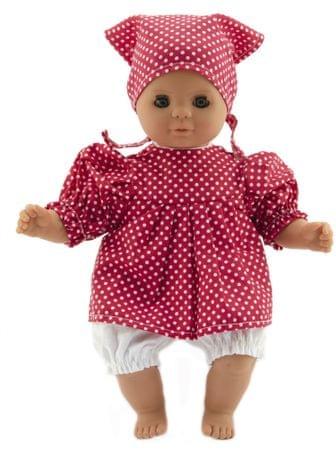 Teddies lalka dziecko 30 cm, ciało z materiału, czerwona sukienka w białe kropki + chustka