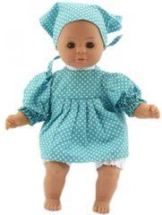 Teddies lalka dziecko 30 cm, ciało z materiału, niebieska sukienka w białe kropki + chustka