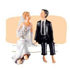 Florensuc Svatební figurka - sedící pár na okraji dortu