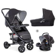 Hauck Malibu 4 Trioset 2020 otroški voziček, črno-srebrn