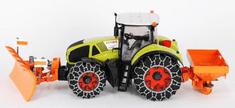 Bruder 01174 - Claas Axion 950 se sněhovými řetězy, drtičkou a pluhem