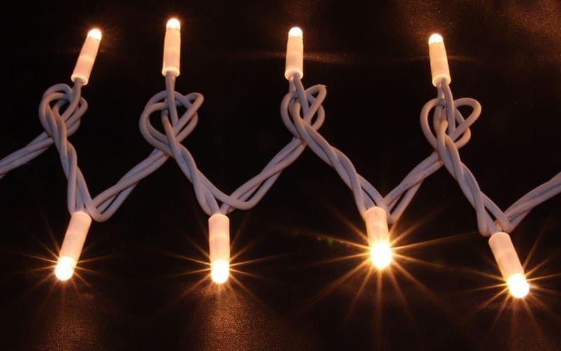 Seizis Řetěz 100LED - 10m, teplá svítící, bílý kabel